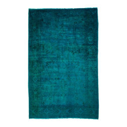 West of Hudson - Overdyed Vintage Ziegler Mahal Teal Rug, 6x9 Ft. - Handknotted one of a kind over-dyed rug with vibrant colors. West of Hudson is proud to offer authentic vintage and new hand knotted rugs that that are carefully selected for our exclusive overdye collection. Each rug is a unique work of art. 100% handmade from start to finish.