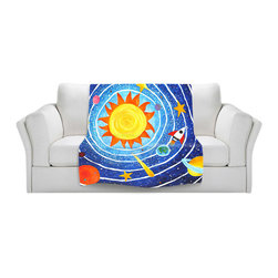 DiaNoche Designs - Fleece Throw Blanket by nJoyArt - Solar System VII - Original Artwork printed to an ultra soft fleece Blanket for a unique look and feel of your living room couch or bedroom space.  DiaNoche Designs uses images from artists all over the world to create Illuminated art, Canvas Art, Sheets, Pillows, Duvets, Blankets and many other items that you can print to.  Every purchase supports an artist!