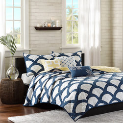 Madison Park - Madison Park Montego 6-piece Coverlet Set - With a soothing blue design composed of gentle curves and intersections,this lovely machine washable coverlet set is a welcome addition to any bedroom. The set includes two matching shams and three embroidered decorative pillows completing the look.