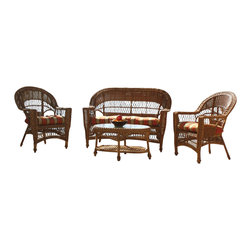 "Wicker Paradise - Cape Cod Seating Set of 4 Natural - The Cape Cod set of 4 outdoor wicker patio furniture includes 1 loveseat, 2 chairs and 1 oval coffee/cocktail table. The table is inset with a glass top and measures 31"" wide, 19"" deep, 19"" high. All the furniture in the Cape Cod collection is of resin wicker and is built on aluminum frame to bear all weather conditions.  The furniture is in a natural finish and is fully assembled.  Cushions are not included in this set."
