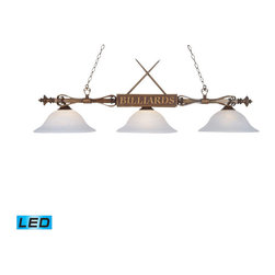Elk Lighting - Landmark Lighting Designer Classics 194-WD-G1-LED 3-Light Billiard/Island in Woo - 194-WD-G1-LED 3-Light Billiard/Island in Wood Patina w/ White Faux Alabaster Glass Shades - LED - 800 Lumens belongs to Designer Classics/Billiard/Island Collection by Landmark Lighting The Designer Classics Collection Runs The Gamut From Spirited, Fun-Loving Billiard Lights Inspired By The Game Itself..... To An Array Of Stunning, Rich Designs That Make An Eye Catching Statement For Any Gameroom, Bar Or Kitchen Island. Use In Any Setting Where Optimal Illumination Is Desired. - LED, 800 Lumens (2400 Lumens Total) With Full Scale Dimming Range, 60 Watt (180 Watt Total)Equivalent , 120V Replaceable LED Bulb Included Billiard/Island (1)