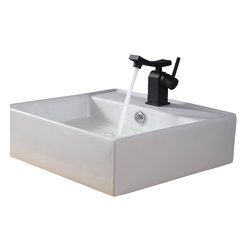 Kraus - Kraus White Square Ceramic Sink and Unicus Basin Faucet Oil Rubbed Bronze - *Add a touch of elegance to your bathroom with a ceramic sink combo from Kraus
