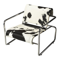 Butler Furniture - Soho Hair-On-Hide Accent Chair - Rustle up some of your personal style with this cowhide chair. A steel structure provides its integral support, while hair-on-hide leather covers the seat and back. This masculine armchair is a unique take on the combination of leather and metalwork.