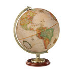 "Replogle - Kingston Desktop World Globe - Classic 12"" desktop globe features solid hardwood base with rich walnut finish, and die-cast numbered antique plated semi-meridian."