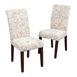 Great Deal Furniture - Set of 2 Script Printed Linen Dining Chairs - Bid adieu to dining chairs as usual! Clean, simple lines meet the romance of French script linen upholstery in this pair of Parson chairs. Whether tucked under a dining room table or used as accents, let this duo bring a little French attitude into your home.