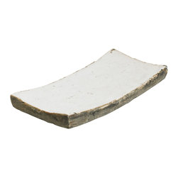 Zentique - Decorative Dish, Medium - Rectangular dish featuring curved ends made of granular clay with a distressed ceramic finish. For decorative purposes only.