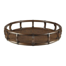 Riva Round Tray, Clove - The galleries in the trays are elegant statements. Each tray is generously scaled for serving, or perched attractively on tops of ottomans. Leather wrapped and woven rattan in clove finish.