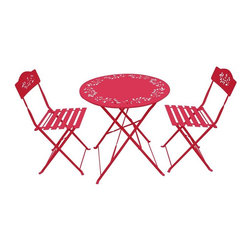 Alpine Fountains - Metal Bistro Set w 1 table and Two Chairs in - 100% Steel. 1 Year Limited Warranty. Assembly Required. Overall Dimensions: 28 in. L x 28 in. W x 36 in. H (21.8 lbs)This foldable bistro table and chair set is made from 100% steel and is made to withstand the outdoors.  It has a modern trendy look typical of most bistros.  A perfect addition to your patio.