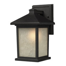 """Z-Lite - Z-Lite 507M 1 Light Down Lighting 14"""" Height Outdoor Wall Light with Glass Squar - Z-Lite 507M 1 Light Down Lighting 14"""" Height Outdoor Wall Light with Glass Square Shade from the Holbrook CollectionThe timeless, mission styling of the Holbrook family displays clean lines to suit both contemporary and traditional decors. The glass panels are available in seedy white paired with a black finished fixture and warm tinted seedy paired with an olde rubbed bronze finished fixture. Also available are glass panels in white swirl paired with black or beige swirl paired with olde rubbed bronze. Alternatively, designed tiffany panels are available in either beige swirl accented with amber or white swirl accented with black. These fixtures are comprise of cast aluminum which withstands nature's seasonal elements.Features:"""