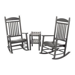 Polywood - 3-Piece Eco-friendly Outdoor Rocker Set - Solid, heavy-duty construction withstands natures elements. Imagine whiling away the hours, or at least taking a few minutes to watch the sun set, amid the timeless tradition and classic style of the Polywood Jefferson 3-Piece Rocker Set. This heirloom-quality set is built to last with very little maintenance. Polywood lumber requires no painting, staining, waterproofing, or similar maintenance. It does not splinter, crack, chip, peel or rot and it is resistant to corrosive substances, insects, fungi, salt spray and other environmental stresses.