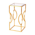 Worlds Away - Worlds Away Square Occasional Table in Gold Leaf TULIP G - Square occasional table gold leaf with clear glass top.