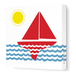 "Avalisa - Things That Go - Sailing Stretched Wall Art, 18"" x 18"", Red Blue -"