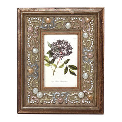 """Traders and Company - Enamel Inlaid 4x6 Wood Picture Frame w/ Jewels, 9""""Lx1""""Wx11""""H - Vanderbilt - Crafted from wood and given a classically antiqued look, each frame is dramatically inlaid with swirled resinous enamel. Embedded colorful rhinestone jewels dot the design, adding sparkle and shimmer to your photos. Each frame comes with an attached kickstand for desktop use, or hooks for vertical or horizontal wall hanging. Fits 4""""x6"""" photos. Alternate shapes & styles sold separately. Dimensions: 9""""Lx1""""Wx11""""H"""