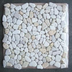 "Stone Center Corp - Travertine Mix Giallo River Rocks Pebble Stone Mosaic Tile Tumbled - Travertine and giallo random pebble stone pieces mounted on 12"" x 12"" sturdy mesh tile sheet"