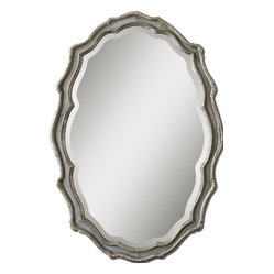 Uttermost - Dorgali Slate Blue Mirror - This lovely curvy mirror has an aged, antique border finished in slate blue accented with silver leaf. It looks like your great-great-grandmother brought it to you from her palazzo on the Via Veneto. Lucky you!