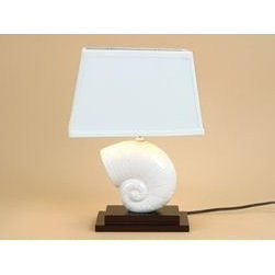 """Decorative Nautilus Shell Table Lamp With Linen Fabric Shade, White Ceramic Seas - Bring some elegant beauty into your Beach or Nautical Theme with this lustrous Shell Table Lamp. The pearl white seashell atop a dark wood pedestal is a classic, subtle addition. Perfect on a side table, end table, or desk. The included rectangular shade gives this lamp a modern feel. An easy blend in any decor. Ceramic and wood base. Measuring 15""""H x 10""""L, this will fit perfectly on an end table or desk. The lamp will accommodate up to a 40 watt light bulb (not included)"""