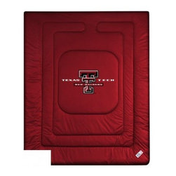 Sports Coverage - Texas Tech Bedding - NCAA Comforter - Full - Show your team spirit with this great looking officially licensed Texas Tech University Red Raiders comforter. This Texas Tech comforter is made from 100% Polyester Jersey Mesh - just like what the players wear. The fill is 100% Polyester batting for warmth and comfort. Featuring authentic Texas Tech team colors, each comforter has the authentic Texas Tech University Red Raiders logo screen printed in the center. Soft but durable. Machine washable in cold water. Tumble dry in low heat. Covers are 100% Polyester Jersey top side and Poly/Cotton bottom side. Each comforter has the team logo centered on solid background in team colors. 5.5 oz. Bonded polyester batts. Looks and feels like a real jersey!