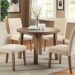 Furniture of America - Furniture of America Seline Round Weathered Elm Dining Table - Enjoy rustic appeal with a modern twist. This compact 42-inch round dining table features a natural wood design that's textured,ideally designed to save space in a small breakfast nook.