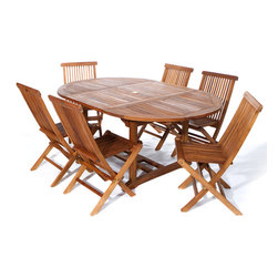 All Things Cedar - 7pc. Teak Oval Extension Table Folding Chair Set - This 9pc. Promo Set Includes 1 TE70 Rectangle Extension Table + 6 TF22 Teak Folding Chairs. Item is made to order.