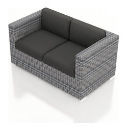 Harmonia Living - Urbana Modern Outdoor Loveseat, Weathered Stone Wicker, Charcoal Cushions - The Harmonia Living Urbana Rattan Patio Loveseat with Gray Sunbrella cushions (SKU HL-URBNWS-LS-CC) features clean lines, premium synthetic wicker and brushed aluminum feet, giving your outdoors a fantastic modern look. The High-Density Polyethylene (HDPE) wicker is infused with a Weathered Stone and UV treatment, creating long-lasting color that is fade-resistant and cannot be stripped off. Underneath the wicker is a sturdy, thick-gauged aluminum frame that is powder coated, making it incredibly corrosion resistant. The outdoor wicker seats are reinforced to prevent excessive wicker stretching, ensuring you and your guests can sit securely each time. The sofa includes seat and back cushions covered in fade- and mildew-resistant Sunbrella fabric, which is available in Canvas Charcoal.