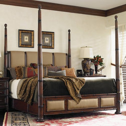 Tommy Bahama - Tommy Bahama by Lexington Home Brands Landara Monarch Bay Poster Bed Multicolor - Shop for Beds from Hayneedle.com! Bamboo-inspired columns with carved finials and rich details give the Tommy Bahama by Lexington Home Brands Landara Monarch Bay Poster Bed its tropical colonial flair. Padded panels with chestnut brown woven linen grace the headboard and footboard. This bed features adjustable high and low post options antique brass finished metal accents and decorative nailhead trim. As beautiful as it is comfortable!Bed Dimensions:Queen: 92L x 68W x 89.25H inchesKing: 92L x 84.5W x 89.25H inchesCalifornia King: 96L x 80.5W x 89.25H inchesAbout Lexington Home BrandsFounded in 1903 in High Point NC Lexington Home Brands has become a globally known manufacturer and marketer of unique home furnishings. They are an industry leader in design style and quality products. Their product line consists of upholstered and hardwood furniture under recognized brands such as Lexington Tommy Bahama Sligh and Henry Link Trading Co.. Lexington Home Brand's intentions and aspirations are to create exclusive designs and styles that accommodate the traditional contemporary casual and formal decors of their customers' homes.