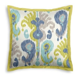 Blue & Green Giant Ikat Custom Euro Sham - Popped collars, statement necklaces, crisply ironed pants  it's the little details that complete a perfectly tailored look. And the sharp contemporary edging of the Tailored Euro Sham will do just that for your bed.  We love it in this oversized ikat that makes a big (literally!) statement in classic shades of blue, green, and gray on luxurious white linen.