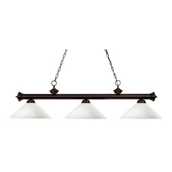 Z-Lite - Z-Lite Riviera Kitchen Island / Billiard X-41OMA-ZRB3-002 - Elegant and traditional best describes this beautiful three light fixture. Finished in oil rubbed bronze and paired with angle mottle opal glass shades, this three light fixture would be equally at home in the game room, or anywhere else in the house needing a touch of timeless charm. 72 inches of chain per side is included to ensure a perfect hanging height.