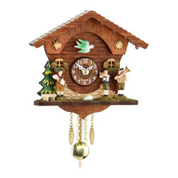 HOK Concepts - Cuckoo Clock with Octoberfest Band - Black Forest Quartz Pendulum Clock and Cuckoo Chime with Oktoberfest Band. This wall clock features a German Oompah Band in Traditional Folk Clothing. It has a high quality German quartz movement and an easy-to-read wooden dial. It is complete with a golden pendulum and decorative pinecones. A cuckoo sound with echo announces each hour. The battery operated movement with automatic night shut-off from 9 pm until 6 am operates with 1 AA battery (not included). It is made in the Black Forest of Germany. The dimensions are without pendulum and cones. Great effort has been made to portray this clock as accurately as possible. As with many handmade items, the exact coloration and carving may vary slightly from item to item.