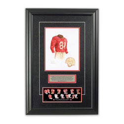 """Heritage Sports Art - Original art of the NFL 1948 San Francisco 49ers uniform - This beautifully framed piece features an original piece of watercolor artwork glass-framed in an attractive two inch wide black resin frame with a double mat. The outer dimensions of the framed piece are approximately 17"""" wide x 24.5"""" high, although the exact size will vary according to the size of the original piece of art. At the core of the framed piece is the actual piece of original artwork as painted by the artist on textured 100% rag, water-marked watercolor paper. In many cases the original artwork has handwritten notes in pencil from the artist. Simply put, this is beautiful, one-of-a-kind artwork. The outer mat is a rich textured black acid-free mat with a decorative inset white v-groove, while the inner mat is a complimentary colored acid-free mat reflecting one of the team's primary colors. The image of this framed piece shows the mat color that we use (Red). Beneath the artwork is a silver plate with black text describing the original artwork. The text for this piece will read: This original, one-of-a-kind watercolor painting of the 1948 San Francisco 49ers uniform is the original artwork that was used in the creation of this San Francisco 49ers uniform evolution print and tens of thousands of other San Francisco 49ers products that have been sold across North America. This original piece of art was painted by artist Nola McConnan for Maple Leaf Productions Ltd. Beneath the silver plate is a 3"""" x 9"""" reproduction of a well known, best-selling print that celebrates the history of the team. The print beautifully illustrates the chronological evolution of the team's uniform and shows you how the original art was used in the creation of this print. If you look closely, you will see that the print features the actual artwork being offered for sale. The piece is framed with an extremely high quality framing glass. We have used this glass style for many years with excellent result"""