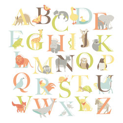 "WallPops - Alphabet Zoo Wall Art Decal Kit - Decorate your baby's room with these beautiful alphabet nursery wall decals. Animals of all sizes and shapes pose playfully with the letters that represent their names. These nursery decals are both charming and educational! This WallPop Comes on 2 17.25"" x 39"" Sheets and contains 26 Pieces Total. WallPops are repositionable and always removable."