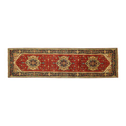 Manhattan Rugs - Free-Pad New 3'x10' Persian Red-Navy Blue Vege Dyed Hand Knotted Wool Serapi Ori - Heriz is situated in the northwestern part of Iran (Persia).  Though the term covers Hand knotted rugs of numerous small villages in the area, the most beautiful Rugs were woven in Heriz itself For the last 100 years, the Heriz carpet designs have basically remained the same, with only small variations in color pallets and density of the design. The late 19th Century Rug (so called Serapis) was of fewer details and softer colors and with time designs became denser with added jewel tone color pallets. The revival of the carpet industry in the late 19th Century was based on the demand of the Western markets, with America in particular. Weavers in Heriz hand knotted were asked to make carpets inspired by the Fereghan Sarouks of higher cost for consumers of more limited budgets. Even though Sarouk carpets changed style later on, Heriz weavers stayed with the geometric pattern till now.  However, Heriz was also a center of production of some of the best handmade carpets with both geometric and curvilinear floral patterns.  A special heirloom wash produces the subtle color variations that give rugs their distinctive antique look.