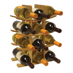 home basics - Bamboo Wine Rack - With room for 12 bottles, this bamboo wine rack boasts eco-friendly construction and a modern design while making a chic addition to a carefully kept kitchen.   Wine not included 12'' W x 16.5'' H x 6'' D Holds 12 bottles Bamboo Imported