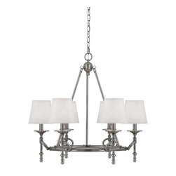 Savoy House - 6 Light 1 Tier Chandelier from the Foxcroft Collection - Savoy House 1-4157-6 Foxcroft 6 Light 1 Tier ChandelierDesigned by Brian Thomas, this stunning six light chandelier brings together classic design with contemporary flair in an elegant package. This beautiful piece from Foxcroft will add an elegant touch to your home d�cor.Foxcroft will add an elegant touch to your home d�cor with clean lines and lustrous Brushed Pewter finish. Designed by Brian Thomas, these stunning fixtures mix classic design with contemporary flair.Savoy House 1-4157-6 Features: