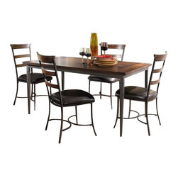 "Hillsdale Furniture - Hillsdale Cameron 5-Piece Rectangle Dining Set with Ladder Back Chairs - Hillsdale's Cameron collection beautifully combines a warm chestnut brown wood finish with a dark grey metal and offers a multitude of choices to create the perfect dining group for your home. Starting with the chairs, you have the choice of three lovely designs: The X-Back chair combines a warm chestnut brown top accent with a transitional metal X in the center of the back and a brown faux leather seat. The parson's chair is traditional in design and combines the warm chestnut brown finish with the brown faux leather seat. The ladder back chair features 3 rungs in the chestnut brown finish, enhanced by the dark grey metal and brown faux leather seat. Now that you have decided on your chair, let's look at the table options: The stunning rectangle table features a wood top that is generously scaled to easily accommodate 6. The simple round table features a 48"" diameter wood top with flared metal legs. The round wood table is 48"" in diameter and features a wonderful metal accent on the base."