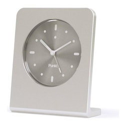 """Punkt. - Aluminum Alarm Clock - The AC 01 Alarm clocks user friendly and intuitive function combined with superior materials make this a lasting object. During the product development of the AC 01,Punkt. Team liked the unfinished aluminum frame so much that Jasper Morrison went to work on an anodized version. Features: -Materials: Aluminum frame and mineral glass. -Brushed aluminum dial plate. -LED side light and snooze. -Seiko movement. -Easy to operate. -Great presentation box. -Includes 3 x LR44 button cells for long life. -1 Year warranty. Dimensions: -4"""" H x 3.5"""" W x 1.5"""" D, 1 lbs."""