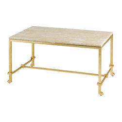 Currey & Co - Currey & Co Delano Gold Leaf Coffee Table - The Currey & Co 4126 Delano Gold Leaf Coffee Table offers a unique smooth crystal stone top that is attached to the wrought iron frame and legs. Adding to its beauty, the wrought iron has the contemporary gold leaf finish. The table top cleans easily and does not stain. The table is part of a collection that includes the occasional table (#4124), the console table (#4127), and the corner table (#4128).