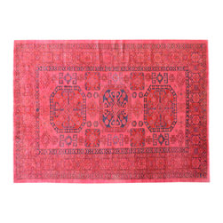 1800GetARug.com - Pink Hand Knotted 7'x10' Overdyed Super Kazak  100% Wool Oriental Rug Sh15042 - Pink Hand Knotted 7'x10' Overdyed Super Kazak  100% Wool Oriental Rug Sh15042