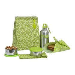 Squiggle Waste-free Lunch Kit - It's bye-bye to brown paper bags. This set includes a machine-washable, recycled cotton canvas sack, matching napkin, and a food Kozy (with velcro closures for toting sandwiches and fruit), as well as a travel bottle and two sturdy stainless steel bowls (with lids!) for a full soup-to-nuts package. The set is so useful and stylish I think I may even want one for myself!