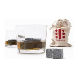 Teroforma - Whisky Stones Beverage Cubes (Set of 9) - Show your guests that you appreciate the stones it takes to develop a taste for good whisky with whisky stones. This set of 9 beverage cubes simply stay cold in your beverage without watering it down. Use it for anything you like and anything it takes real stones to drink.