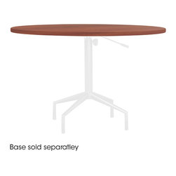 "Safco - RSVP 42w x 42d x 1""h Round - Cherry - No reservations needed for this elegantly designed table. RSVP; will invite guests in and is perfect for any hospitality needs. Choose from two table bases, Standard or Pneumatic. The bases can be used with multiple tops that come with four glides on each base. If you want the possibility of easy mobility you can simply add casters to either base while keeping the overall height the same. The Pneumatic Base Table adjusts in height from 273/4"" to 363/4"". The Standard Fixed Tables height is 29"" overall. RSVP is ready for every guest, no need to call ahead.; Features:; Color: Cherry; Finished Product Weight: 39 lbs.; Assembly Required: Yes; Limited Lifetime Warranty; Dimensions: 42""W x 42""D x 1""H"