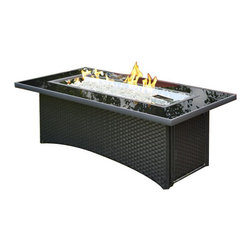 The Outdoor Greatroom - Montego Coffee Table With Black Wicker Base - The Montego fire pit table is as beautiful as it is durable. Made from some of the strongest materials, this fire pit table will last. Clean and simple lines put focus on the dazzling crystal fire. The black tempered glass top comes with a cover for the burner when it is not in use, to make a beautiful and functional glass table top. The Montego fire pit is available in black wicker or balsam brown wicker. With just a push of a button you will enjoy a beautiful clean-burning fire appears atop a bed of highly reflective Diamond glass fire gems. All burners are shipped with orifices for LP or NG fuels and are UL approved for safety and quality. Adjust the flame height to your desired setting and enjoy the magic and ambience of a warm glowing fire.