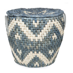 Basket with Geometric Design - The geometric design on this wicker storage basket resembles the art of American Indian tribes.