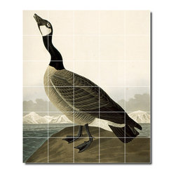 Picture-Tiles, LLC - Canada Goose Tile Mural By John Audubon - * MURAL SIZE: 48x40 inch tile mural using (30) 8x8 ceramic tiles-satin finish.