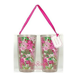 Lilly Pulitzer - Lilly Pulitzer Insulated Tumbler Set, Beach Rose - Get chilled with our Lilly Pulitzer Insulated Tumbler, where you can keep your drinks cool and its classy better look will make you centre of attraction. This double walled tumbler which holds 16 ounce capacity drink is perfect for poolside refreshment or the everyday bustle with your loved one.