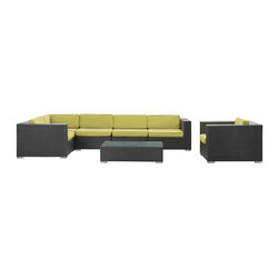 Modway Furniture - Modway Corona 7 Piece Sectional Set in Espresso Peridot - 7 Piece Sectional Set in Espresso Peridot belongs to Corona Collection by Modway Stages of sensitivity flow naturally with Corona's robust seating experience. Find meaning among cliffs and caverns as you become the agent of influence in the espresso rattan base and all-weather peridot fabric cushion repast. Open yourself to splendorous insights as you impart positivity among friends and family. Set Includes: One - Corona Outdoor Wicker Patio Armchair One - Corona Outdoor Wicker Patio Coffee Table One - Corona Outdoor Wicker Patio Corner Section One - Corona Outdoor Wicker Patio Left End Section One - Corona Outdoor Wicker Patio Right End Section Two - Corona Outdoor Wicker Patio Armless Sections Armchair (1), Coffee Table (1) , Corner Section (1), Left End Section (1), Right End Section (1), Armless Section (1)