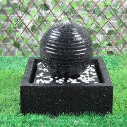 Outdoor Classics - Outdoor Classics Square Solar on Demand Black Ball Fountain w/ LED Lights -