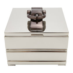 Quorum Decorative Box - Not your typical decorative box. It features a belt loop handle and a nickel finish for a strong yet whimsical look that's perfect for your family room coffee table. No more lost remotes and coasters.