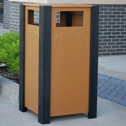 Frog Furnishings 32 Gallon Recycled Plastic Ridgeview Trash Receptacle - The Frog Furnishings 32 Gallon Recycled Plastic Ridgeview Trash Receptacle helps keep your commercial areas free of debris while conforming to the traditional park bench look with a black and cedar color palate. Its 32-gallon capacity is more than enough for most commercial areas, while its 100% recycled plastic construction makes it tough against both the weather and vandals. Some minor assembly is required.About Jayhawk Plastics, Inc.Since 1973, Jayhawk Plastics, Inc., has been producing quality plastic and steel furnishings at reasonable prices. Their commitment to superior customer service and quality products has helped Jayhawk become an industry leader. Jayhawk's benches and other outdoor products are made from steel or 100% recycled plastic. This material gives you the best of both worlds: products made entirely of recycled plastic that also have the beauty of natural wood.Jayhawk's plastic benches, tables, receptacles, and other products are maintenance-free, vandal-resistant, and environmentally friendly. Because they're made of milk jugs, pop bottles, and many other forms of post-consumer and post-industrial waste, these products save trees and reduce landfill usage. Jayhawk's recycled plastic does not need to be sealed, painted, or stained, and cannot rot. Paint will not bond to the surface, and pen and marker can be washed off easily with household cleaning solvents. Jayhawk benches are designed to last many years in the outdoor elements in both residential and commercial applications.