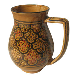 Le Souk Ceramique - Honey Large Pitcher - 54 Fluid Ounces. Hand Painted . Hand Made . Dishwasher safe . Microwave safe . Made in Tunisia. Lead free glazes . Meets CA Prop 65 . Meets all Federal StandardsOur Honey design is steeped in the tradition of North Africa. Like other aspects of the culture, our Honey design is deeply rich with the warm tones of emerald, ruby and amber. Add a touch of sophistication to your table.