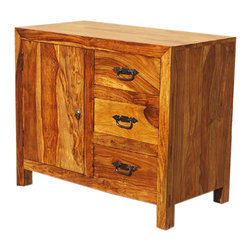 Mediterranean Solid Wood Rustic Storage Buffet Cabinet with 3 Drawers - You will appreciate the dramatic wood grain patterns in the Mediterranean Solid Wood Rustic Storage Buffet Cabinet with 3 Drawers. The solid Indian Rosewood multi toned storage cabinet has three large drawers and a cupboard with shelf.